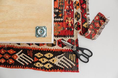 Turn A Vintage Rug Into A DIY Ottoman