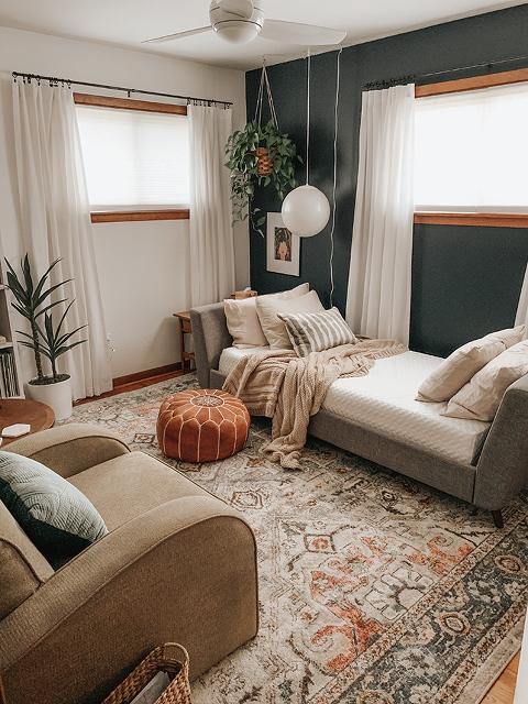 Boho Mid-Century Guest Room Lounge
