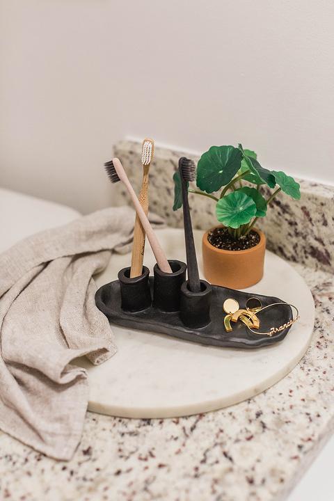DIY Air-Dry Clay Toothbrush Holder