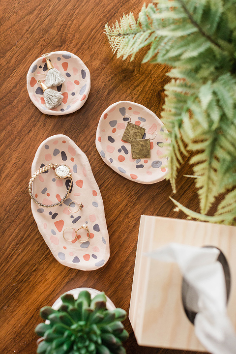 DIY Clay Faux Terrazzo Ring Dishes